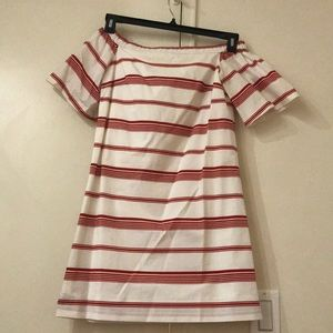Club Monaco red stripe off the shoulder shift
